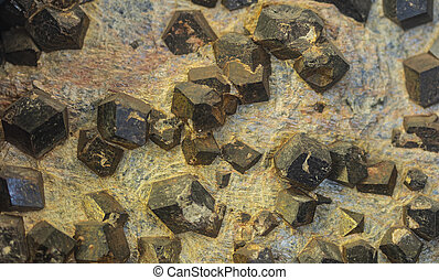 Detail of almandine crystals - Closeup detail of the natural...