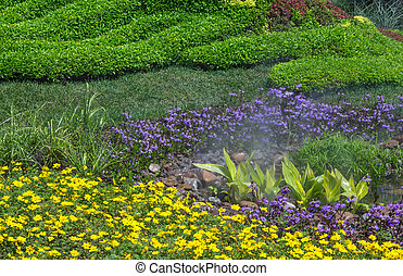 Detail of Alpine garden - Detail of beautifully landscaped ...