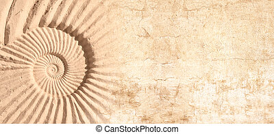 Horizontal or vertical banner with stone wall texture and shell
