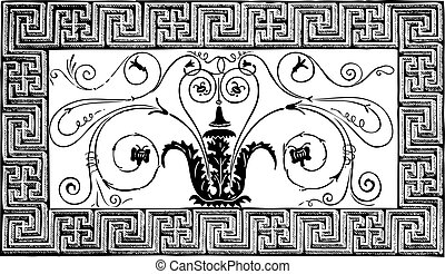 Detail of an ancient Roman mosaic made of a foliated design with volutes, and a border with geometrical patterns. Magazine Le Magasin Pittoresque, Paris, 1840