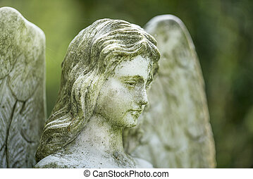 detail of an angel sculpture. Unknown artist of the 19th century