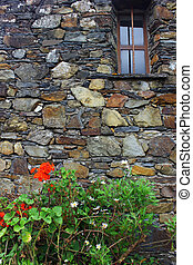 Detail of an old schist house