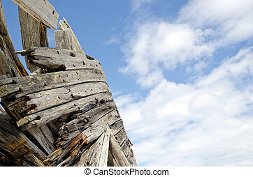 Detail of an old shipwreck