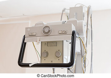 Detail of an x-ray machine in a hospital.X-ray equipment in medical center. cancer. Ultrasound Machine Isolated on White Background. Medical Device. Medical Diagnostic Equipment. Clipping Path