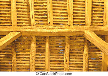 detail of ancient wooden roof