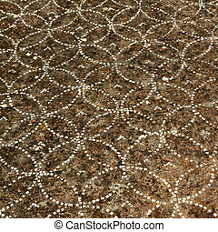 detail of antique ornamental floor, Paestum ( Poseidonia ) temples in  Capaccio, UNESCO world heritage site, Italy