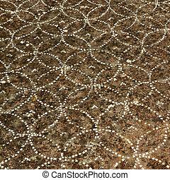 detail of antique ornamental floor, Paestum ( Poseidonia ) temples in Capaccio, UNESCO world heritage site, Italy