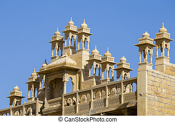 Detail of architecture in the city Jaisalmer, India . Close...