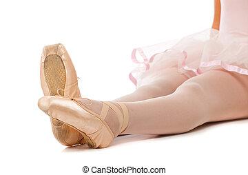 Detail of ballet dancer's feet - Closeup view of ballerina's...