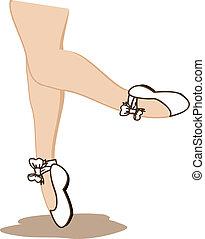 Detail of ballet dancer's feet isolated on white