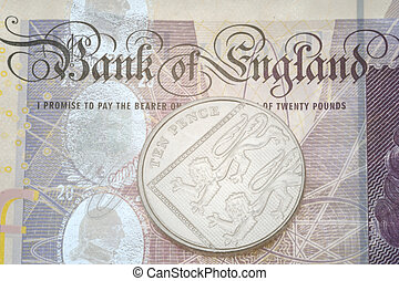 bank note and ten pence piece - Detail of bank note and ten ...