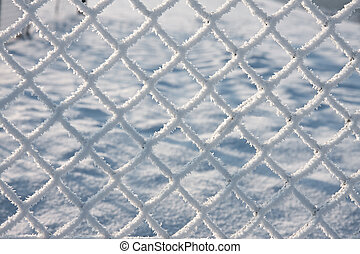 Detail of barbwire covered by snow