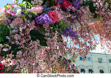 Detail of beautiful flower arch