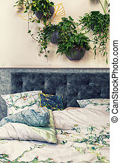 detail of bedroom in nature elements
