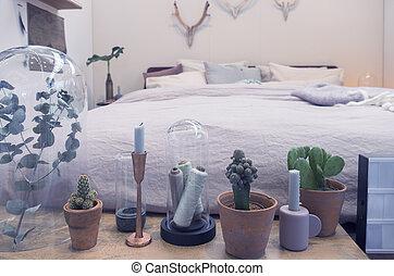 bedroom interior with decorative plants
