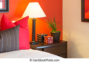 Detail of Bedroom Nightstand and Decorations