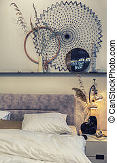 detail of bedroom with nature design elements