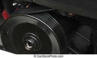 Detail of belt on boat engine - Detail of belt on starting...