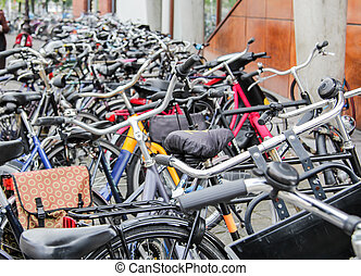 Detail of bikes parked in the street