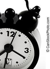 Detail of black alarm clock