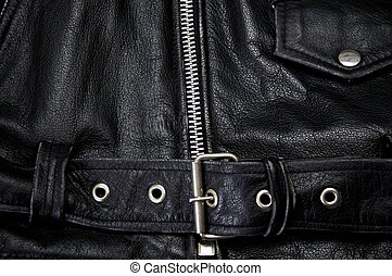 detail of black leather police motorcycle jacket