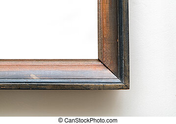 Detail of blank empty frame in art gallery. Museum exhibition wh