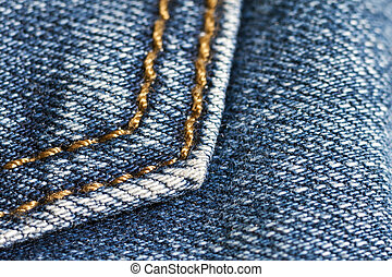 Detail of blue jeans close up