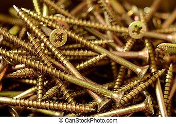 Detail of brass self-tapping screws
