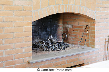 detail of brick fireplace