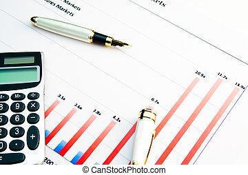 calculator on a financial chart