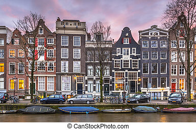 Detail of Canal houses on the Brouwersgracht in Amsterdam