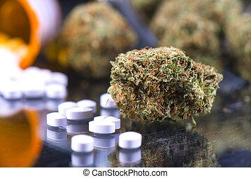 Detail of cannabis buds (chemo kush strain) and ...
