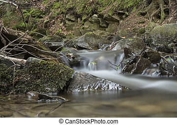 detail of cascade on a small stream