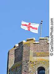 Detail of Castle Tower with George Cross
