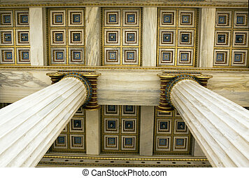 Academy of Athens - Detail of ceiling and ionic columns in...