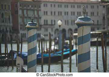 Detail of characteristic columns for the gondola mooring in Venice