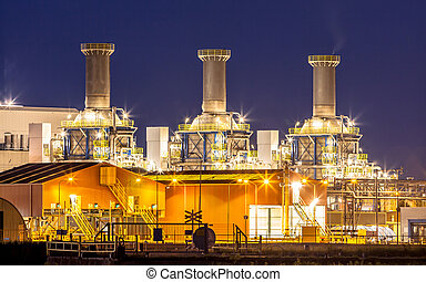 Detail of chemical industry - Heavy Chemical industry night...