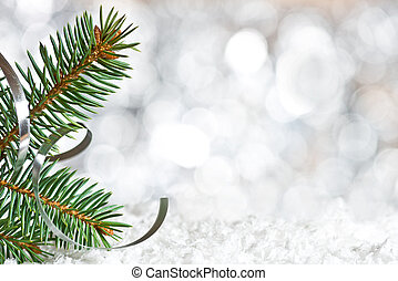 Christmas twig on the snow - Detail of Christmas twig on the...