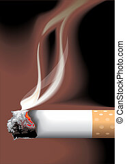 detail of cigarete and smoke - vector