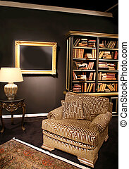 classic interior - Detail of classic interior with books and...