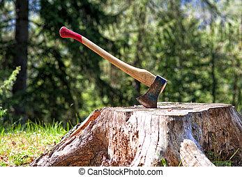 lumberjack axe - detail of classic lumberjack axe