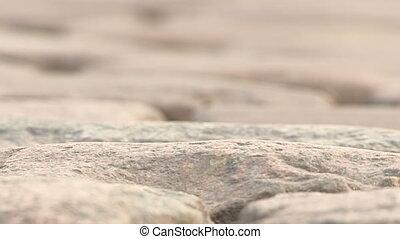 Detail of cobblestones road in Belgium