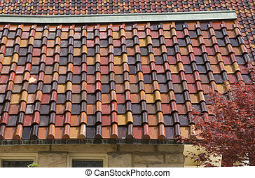 detail of colorful rooftile - decorative roof design with ...