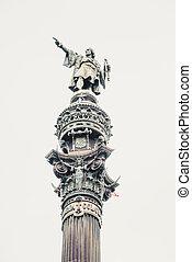 Detail of Columbus Monument in Barcelona, Spain