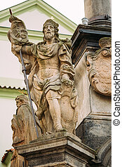 Detail of Column. Statue on main town square in Cesky Krumlov, C