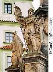 Detail of Column. Statue on main town square in Cesky Krumlov, Czech Republic