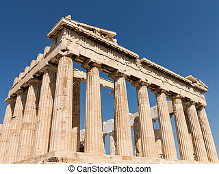 Detail of columns of Parthenon in Athens - Details of the...