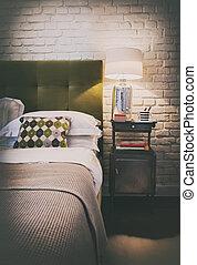 detail of cozy home bedroom