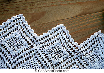 Detail of crochet tablecloth