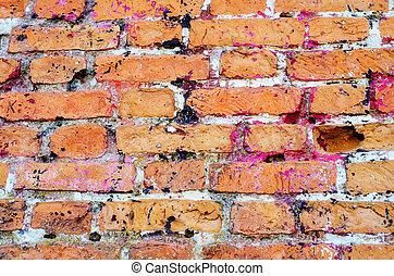 detail of damaged orange brick wall
